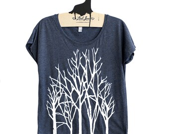 Sale XL-  Tri-Blend Navy Dolman Tee with Branch Trees Screen Print