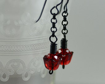 Earrings Featuring Vintage Candy Apple Red Lucite Petal Caps Chinese Crystal Black Enameled Copper Wire Chain