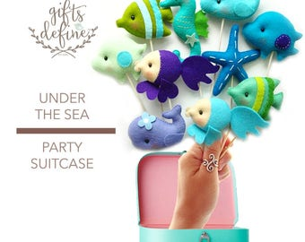 Free US Ship Set of 5 Under the SEA Party Suitcase, Custom Reusable Cake Topper or Gift Favor, Nautical Theme Wedding, Birthday, Baby Shower