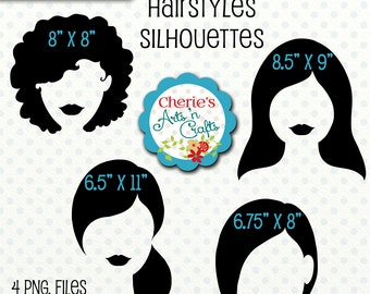 Hairstyles Silhouettes, Women's Silhouettes, Ladies Silhouettes Clip Art, Cliparts, Silhouettes, Girls Hairstyles Silhouette Clip Arts, PNGs