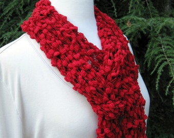Red knit scarf, hand knit, soft long and lacy, gifts for her