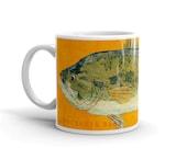 Valentines for Him- Husband Gift- Fish Mug- Largemouth Bass Mug- Fishing Gift- for Fisherman Gift- Fish Gift for Him