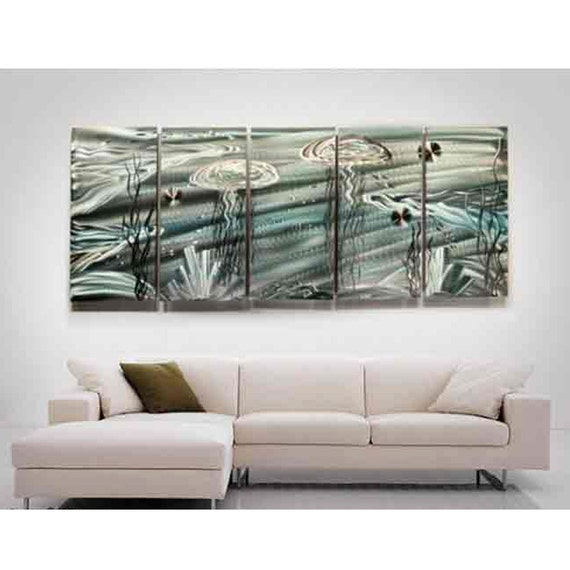 Huge Tropical Metal Wall Art in Silver & Teal, Large Contemporary Underwater Painting, Abstract Jellyfish Art - Aquanatic XL by Jon Allen