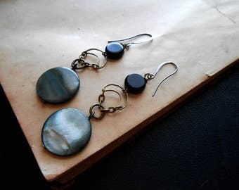 moonspell- mother of pearl earrings onyx earrings neopagan earrings occult jewelry occult earrings crescent moon earrings black gray neutral