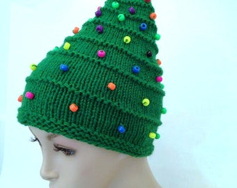 Christmas Tree Hat creative hat green hat unusual hat womens hat hand knitted hat  funky hat crazy hat winter festival hat statement hat