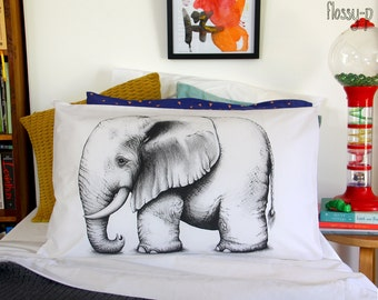Elephant pillowcase, facing left. Illustrated pillowslip. Australian Gift with original art by flossy-p.
