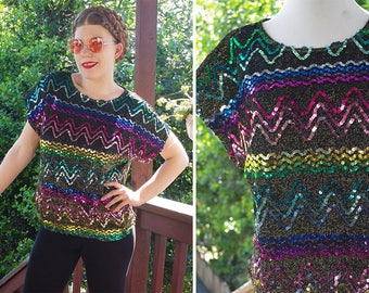 RAINBOW Glitter 1970's 80's Vintage Black + Metallic Gold Disco Glam Blouse w/ Colorful Sequins // by JOANNA // size Large