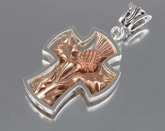 THISTLE CROSS silver and 14K rose gold pendant