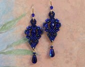 Royal Blue Macrame Earrings, Blue Beaded Earrings, Micro Macrame, Seed bead earrings, cobalt blue, blue earrings, classic style