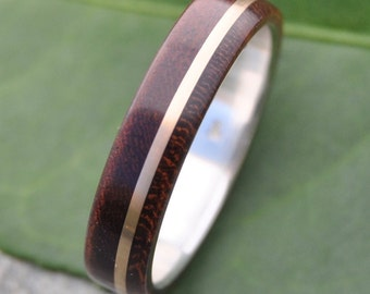 Size 11, 5mm READY TO SHIP Solsticio Oro Nacascolo - sustainable wood, 14k yellow gold and recycled sterling ring