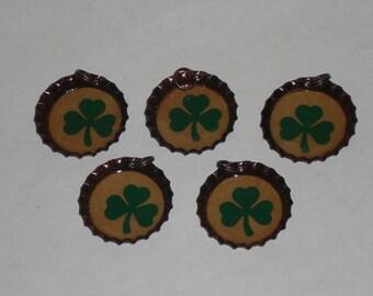 5 St. Patrick's Green - Shamrocks - Leprechaun - March 17 - Bronze Bottle Cap Charms Mini Tree Ornies Ornaments for Necklaces Party Favors