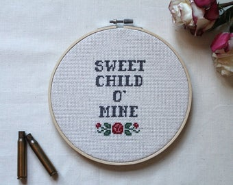 "Sweet Child O' Mine/Guns N Roses/Rock and Roll Cross Stitch/Hip Baby Shower Gift/Nursery Decor/Hoop Art/7"" Cross Stitch Hoop"
