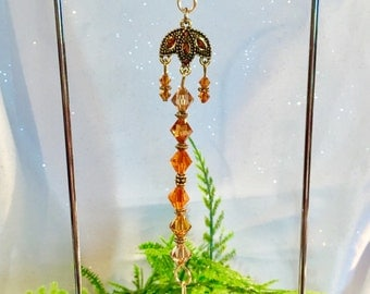Gorgeous Swarovski 38mm Dark Amber Leaf Crystal Suncatcher with Handmade Hanger/Swarovski Crystal Beads, Unique Gifts, Stand Included