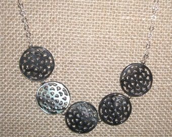 Black Lip Shell and Sterling Necklace