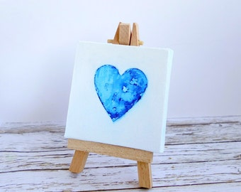 Mini original art canvas & easel. Watercolour heart mixed media painting. Blue and white. I Love You gift.