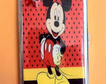 Mickey Mouse Mirror Tissue Cigarette Case Business Credit Card Money Holder