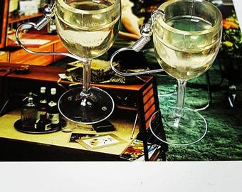 White Wine Glass Earrings