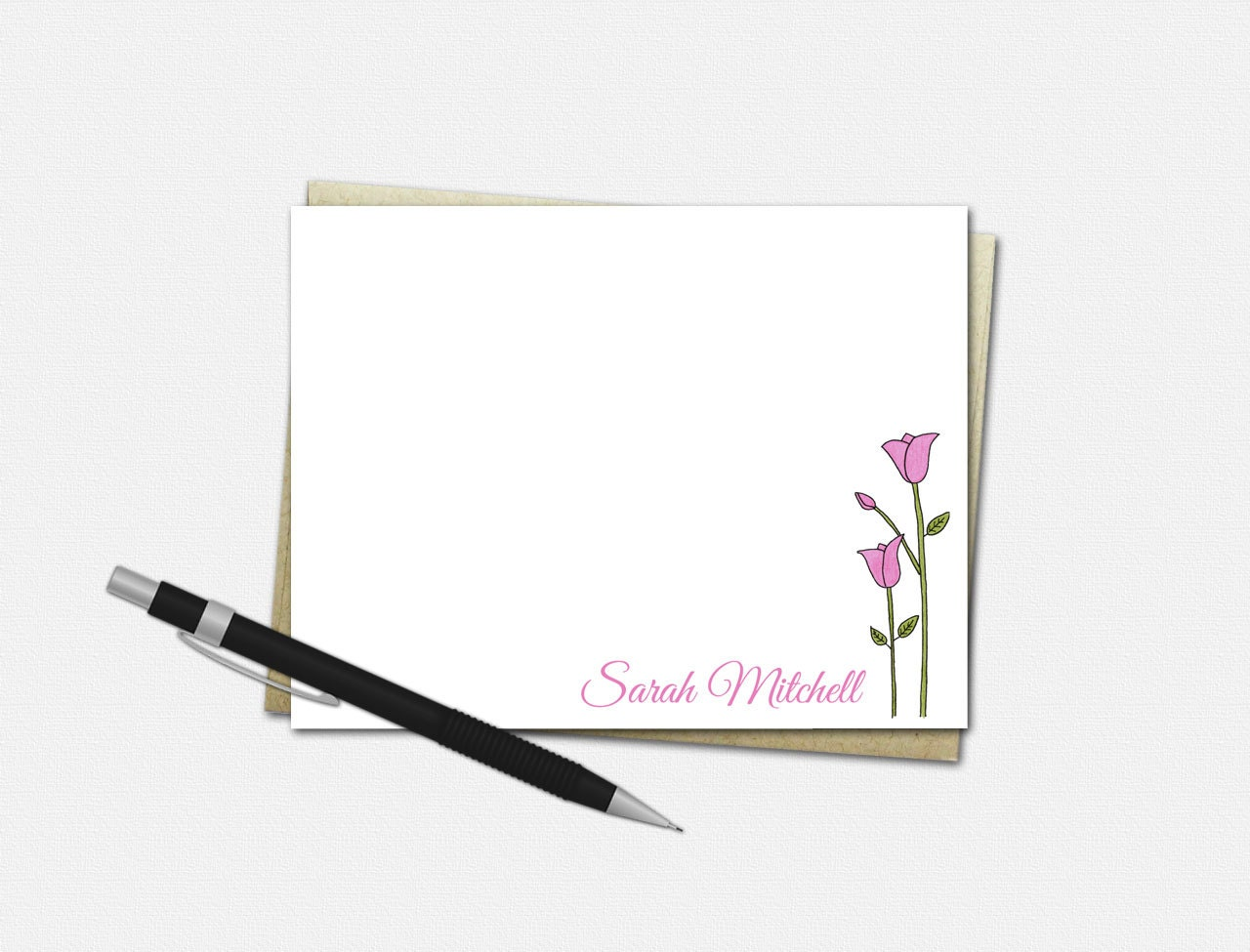 personalized tulip note cards set of 10 flat note cards personalized tulip stationery - Personalized Flat Note Cards
