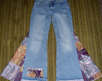 Purple Paisley Hippie Bell Bottom Jeans OOAK Patchwork Retro Boho Trim Upcycled Flare Jean Unique Bell Bottoms Adult Jeans 28 Ready to Ship