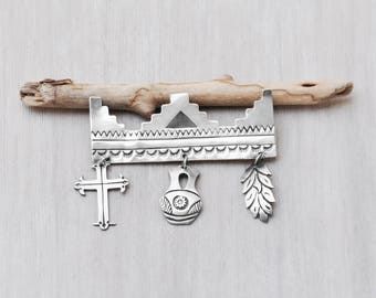 """Vintage Sterling Silver Charm Brooch - 2.5"""" Southwestern Native American stamped pin with cross pottery corn charms"""