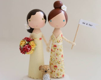 me & her custom wedding cake topper