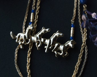 The Four Horsemen Layered Necklace / Long Statement Necklace with Blue and Gold Beads