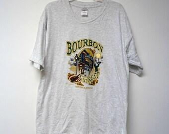 Bourbon Street . New Orleans . puffy paint . souvenir shirt . xl