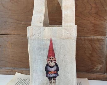 Canvas - Linen Gift Bag with Gnome on the Front - Fairy Party