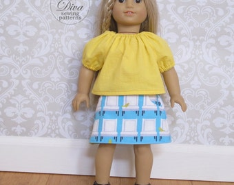 Doll Clothes Patterns fit American Girl - 18 inch Doll Clothes Patterns - Skirt and Top Doll Clothes Patterns - Doll Sewing Patterns PDF