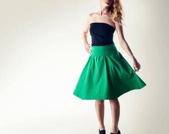 Cotton skirt, green skirt, Strapless dress, Short skirt, jersey skirt, fold over skirt, boho skirt, Bell skirt, Jersey clothing, green dress