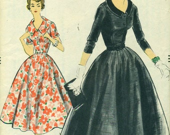 Vogue 9260 Gored Skirt Rounded Darts VINTAGE DRESS 1950s Bust 38 Hip 40©1957