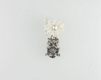 Owl Ear Cuff, White Owl Earrings, Hoot Earrings, Bird Ear Cuff, Bird Earcuff, White Bird Earrings, Hooter Earrings, Bird Cuff Earring