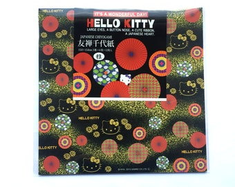 Hello Kitty Paper - Japanese Yuzen Paper 3 Patterns 12 Sheets 15 x 15 cm -  Hello Kitty Chiyogami - Black Gold