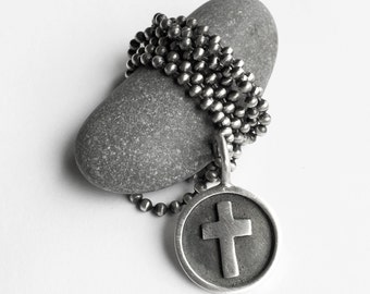 Sterling Silver Christian Cross Crucifix Pendant Necklace Him or Her 22 Inch Ball Chain One of a Kind