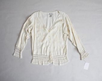 cream crochet blouse | 90s blouse | cream blouse