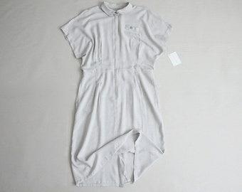 taupe striped dress   zip up dress   minimalist dress