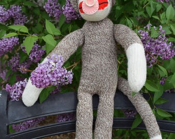 Baby Sock Monkey, Vintage, Handmade in 1970s or 1960s, perfect condition