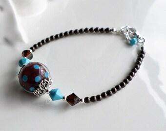 Lampwork Bracelet, Brown Turquoise Lampwork Bracelet, Bangle Bracelet, Minimalist Bracelet, Silver Bangle Bracelet, Minimal Jewelry