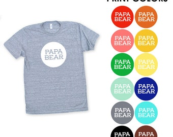 Papa Bear TriBlend TShirt - Father's Day, Gift for Dad, New Daddy, Family Photos, Modern Simple Text Graphic, Expecting