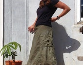 Women's cotton skirt with pockets. Hand dyed Bella 2.0