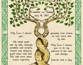 Two Trees Entwined Custom Vows Marriage Wedding Certificate  w Celtic Knotwork Border Handfasting Anniversary 11x14 Fine Art Print Pagan
