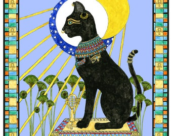 Bast Bastet Egyptian Cat Goddess Art Print Feline Mythology Sun and Moon Altar Decor
