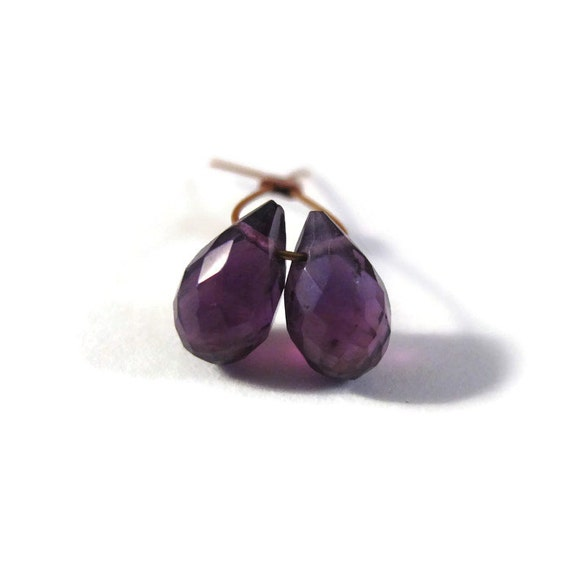 2 Purple Amethyst Briolette Beads, Two Faceted Teardrops, Matched Pair of Stones, 7mm x 4mm (B-Am2a)