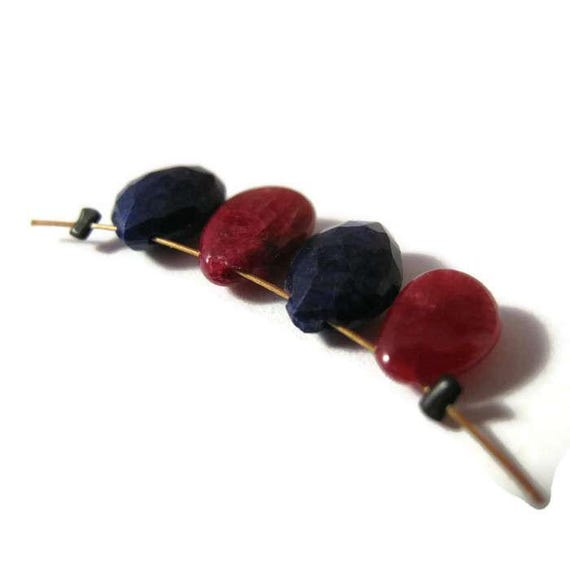 Natural Ruby & Lapis Lazuli Beads, Four (4) Briolettes, Natural Gemstone Beads, Four Stones for Making Jewelry (B-Mix17a)