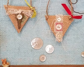Petite Token - Vintage Red and Green Burlap Christmas Ornaments