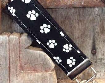 READY To SHIP-Beautiful Key Fob/Keychain/Wristlet-Paws on Black