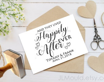 1011 Red Rubbber with or without a handle Custom Personalized Rubber Stamp JLMould Happily Ever After Save the Date Wedding Invitations