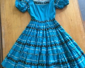 Patio Dress Turquoise with metallic silver Ric Rac 1950's cotton square dance dirndl circle skirt fiesta