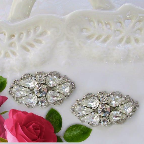 Swarovski Crystal, shoe clips, wedding accessories, Set of 2, silver crystal, Wedding shoe clips, Bridal clips