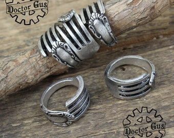 Demitasse Fork Ring Assortment - Adjustable - Set of 5 Rings - Doctorgus Handcrafted Pewter Jewelry - Victorian Boho Style - Wedding Ideas